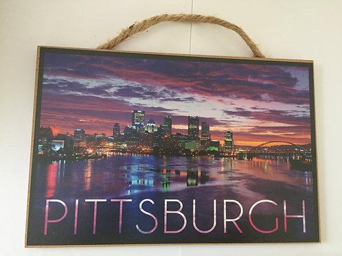 Pittsburgh Purple Sky Scene Wooden Sign