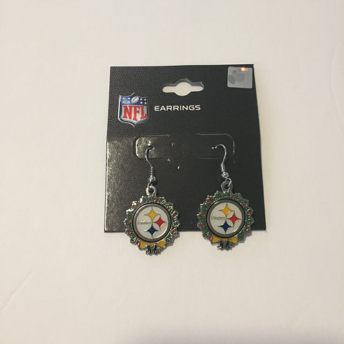 Pittsburgh Steelers Holiday Wreath Earrings
