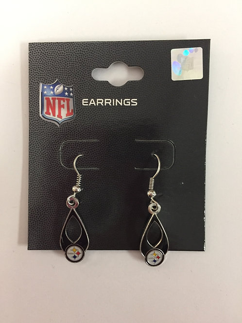 Pittsburgh Steelers Black Dangle Emblem Earrings