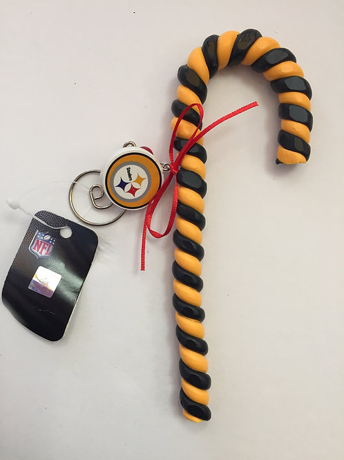 Pittsburgh Steelers Clay Dough Candy Cane Ornament