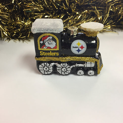 Pittsburgh Steelers Blown Glass Train Ornament