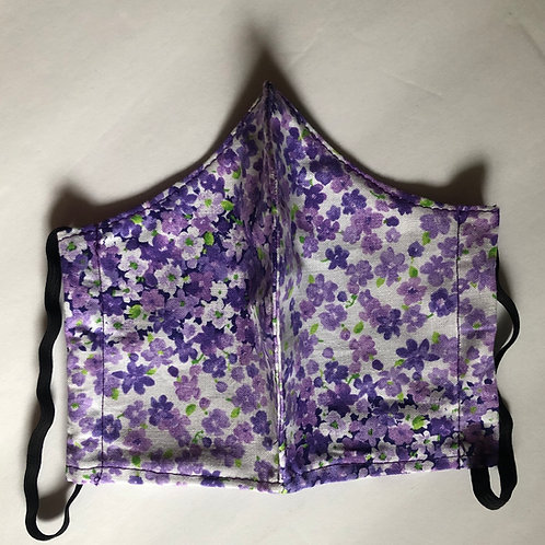 Floral Printed Purple Face Mask (Individually Hand Made In The USA) Washable