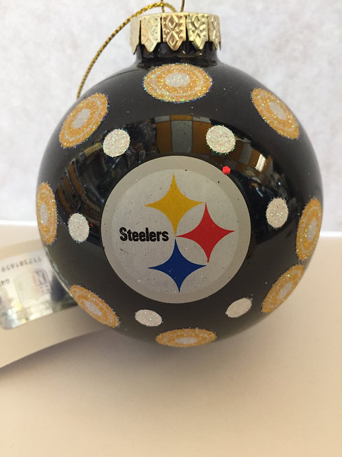 Black Steelers Ball Ornament