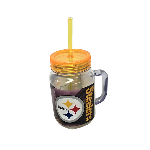 Steelers Plastic Mug with Lid & Straw