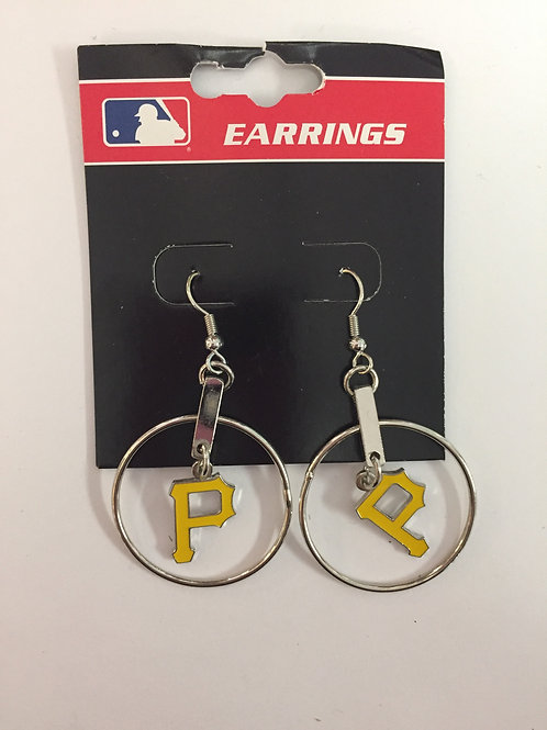 Pittsburgh Pirates Circle Emblem Dangle Earrings