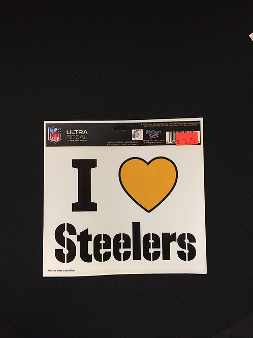 Pittsburgh Steelers 'I Heart Steelers' White Ultra Decal