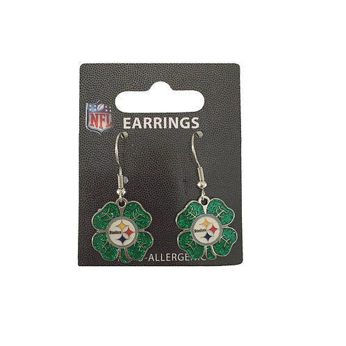Pittsburgh Steelers St Patrick's Day Shamrock Earrings
