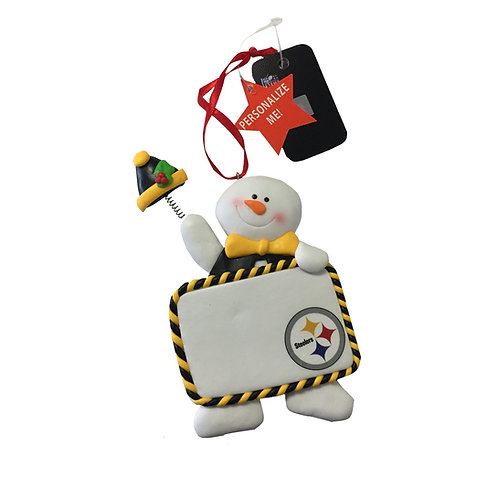 Pittsburgh Steelers Personalized Claydough Snowman Ornament