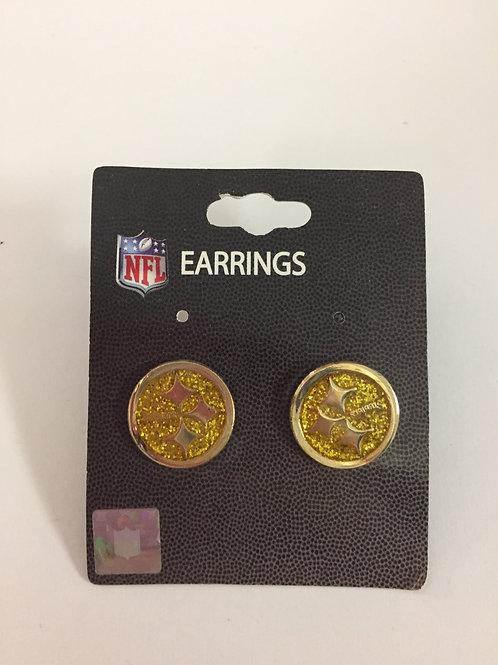 Pittsburgh Steelers Gold Glitter Emblem Earrings