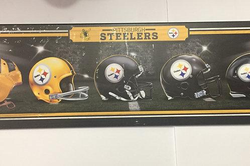 Pittsburgh Steelers Helmet History Wooden Sign