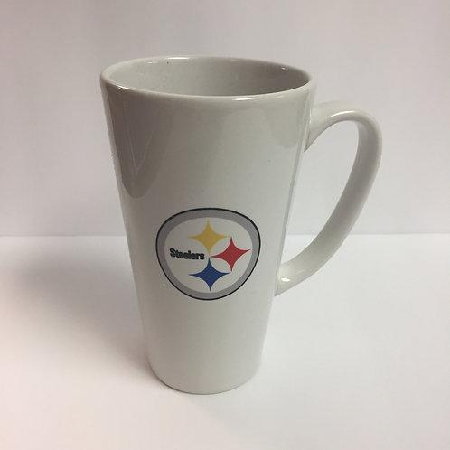 Pittsburgh Steelers White Emblem Latte Mug