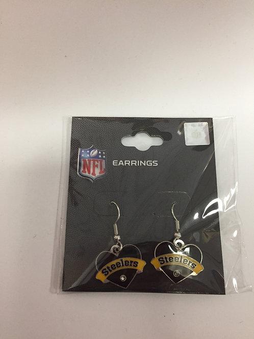 Pittsburgh Steelers Black Heart  Earrings