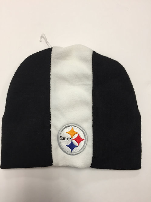 Pittsburgh Steelers Black with White Stripe Beanie Hat