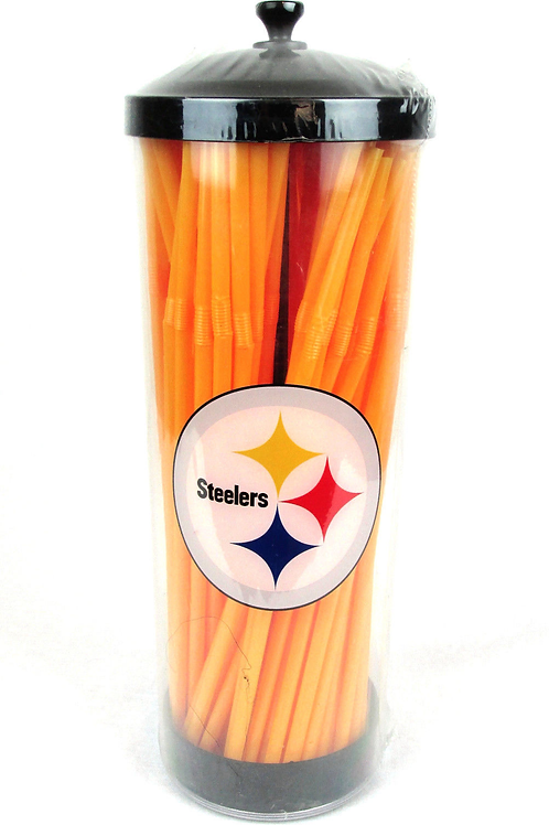 NFL Pittsburgh Steelers Straw Dispenser & 100 Straws