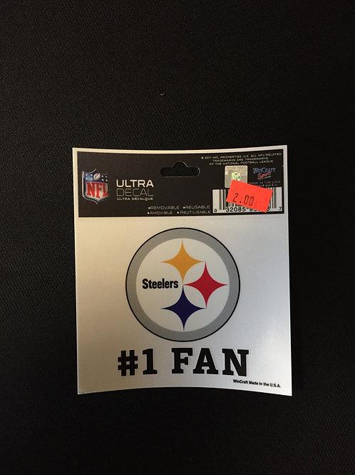 "Pittsburgh Steelers #1 Fan Ultra Decal 3""x4"""