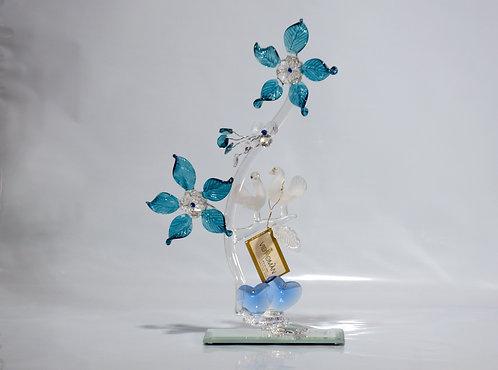Figura de Cristal Tórtolas Azul