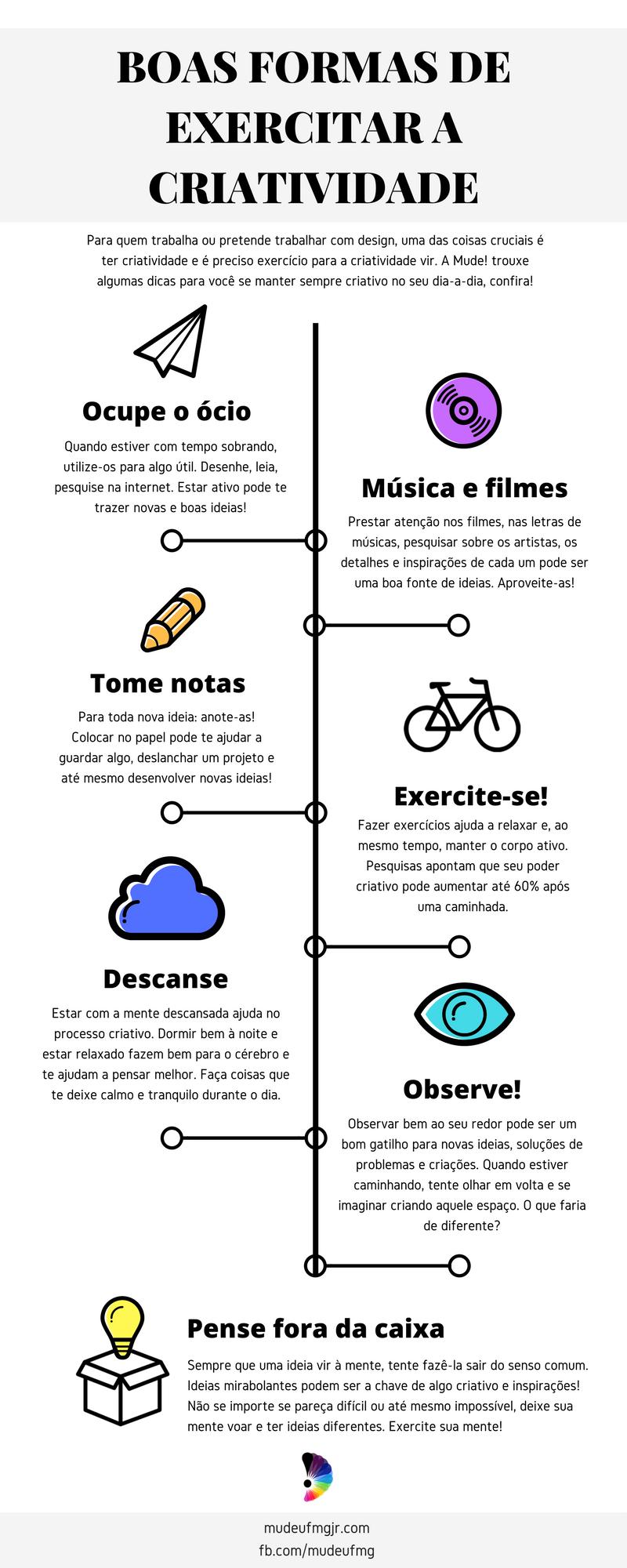 Infográfico: Boas formas de exercitar a criatividade