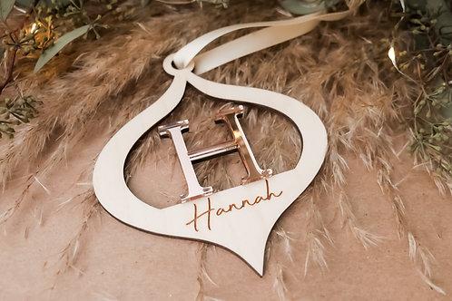 Personalized Initial Ornament- Teardrop
