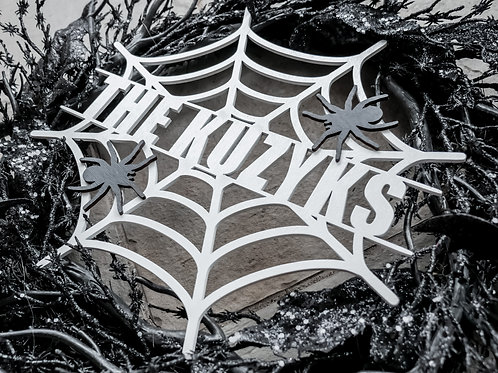 Spider Web Family Halloween Sign