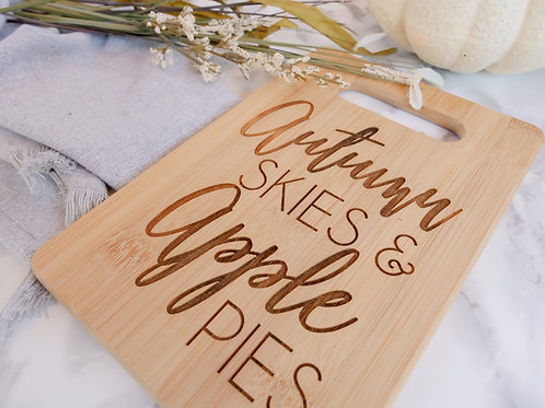 Double Sided Fall and Christmas Bamboo Cutting Board