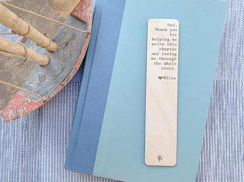 Wooden Engraved Bookmark- Father's Day Gift