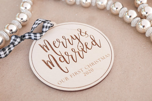 Merry & Married Christmas Ornament