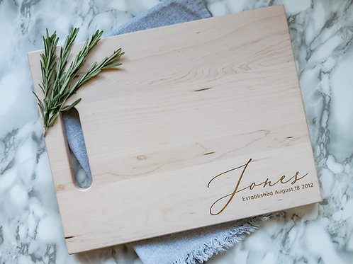 Personalized Family Name Cutting Board-Corner
