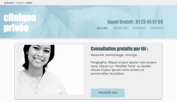 Santé website templates – Clinique Privée