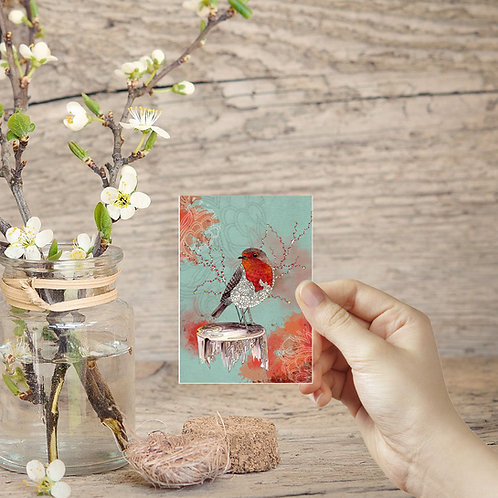 Mini painting tiny art print Red Robin bird art ACEO print miniature art