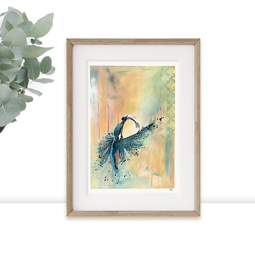 Kingfisher Print Limited Edition, Bright Wildlife Art Prints, Colourful Wall Art