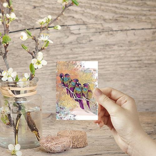 ACEO print mini birds painting parrot print bird art miniature wall art tiny art