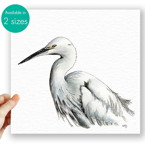 Egret painting white bird art print illustration Egret print nature wall art