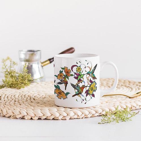 Hummingbirds mugs, Ceramic coffee or tea mug, Art mugs, Hummingbird gift