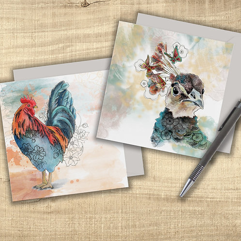 Peacock card & Rooster card, set of 2 pretty birds cards