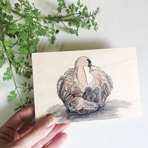 Swan Gifts Wooden Postcard, Swan and Cygnet Print on Wood, Unique New Mum Gift