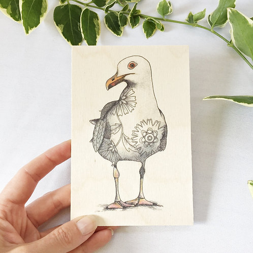 Wood Postcard Seagull Gifts, Wooden Post Card, Sea Bird on Wood Nature Cards
