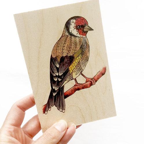 Goldfinch Wood Postcard, Wooden Bird on a Branch British Garden Birds
