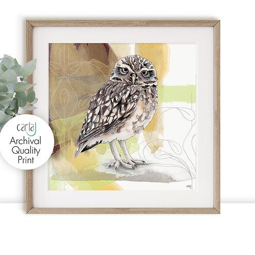 Owl Print, Bird of Prey Wall Art, Owl Lovers Gift, Modern Farmhouse Art