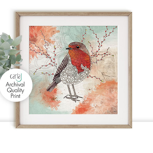 Robin Red Breast bird print, Nature wall prints, Robin gifts, Bird illustration