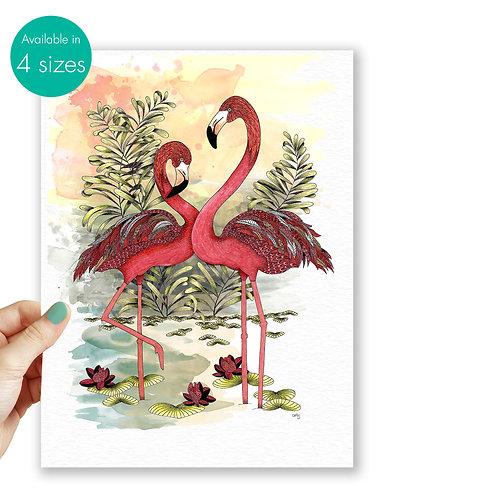 Flamingo print nature lover gift Flamingos wall art, love birds Pink Flamingo gi