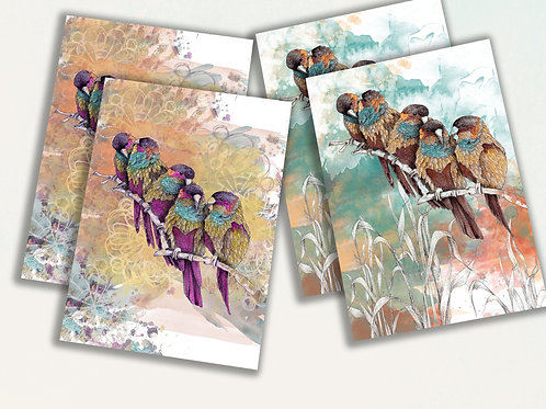Set of 4 nature inspired birds cards, greeting card set, Parrot art gift