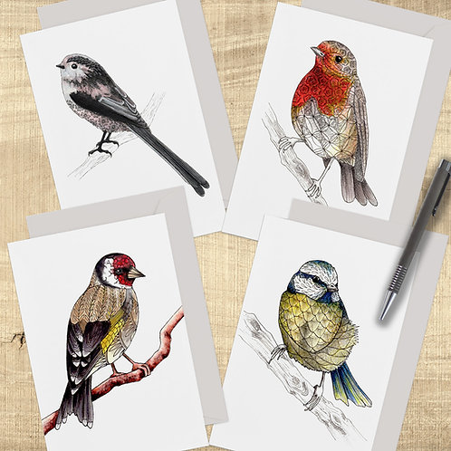 Pack of 4 Cute Birds Greeting Cards, Bird Cards UK, British Garden Birds, Set of