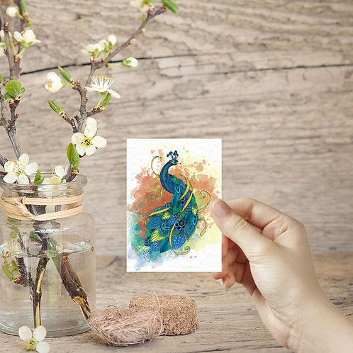 Peacock ACEO print bird illustration art miniature painting, small Peacock decor