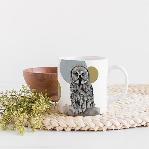 Owl Art Mug, Scandi Mug, Owl Gifts, Bird of Prey Coffee Mug, Bird Lover Gift