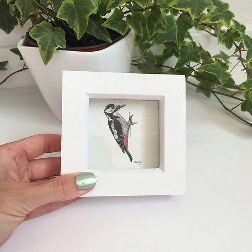 Tiny Framed Woodpecker Art Print, CuteMini Bird Gifts, Woodland Print