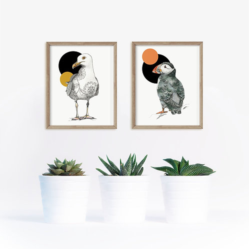 Print Set of 2 Abstract Bird Art, Minimalist Print, Puffin Print, Seagull Print