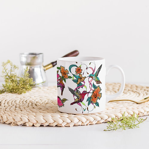 Hummingbird mug, Ceramic coffee mug, Tea mug, Hummingbird gift, Pretty art mug