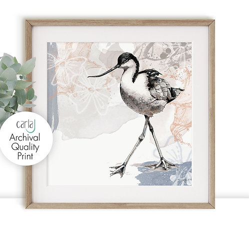 Avocet wading birds print, Nature illustration giclee print, Grey and pink wall
