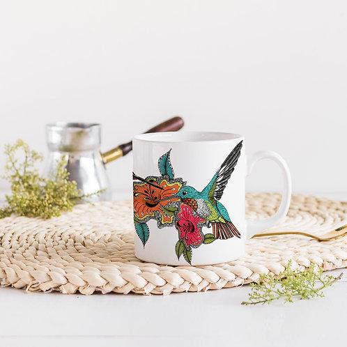 Hummingbird Coffee mug, Unique Art Ceramic mug, Gift for her, Kitchen decor