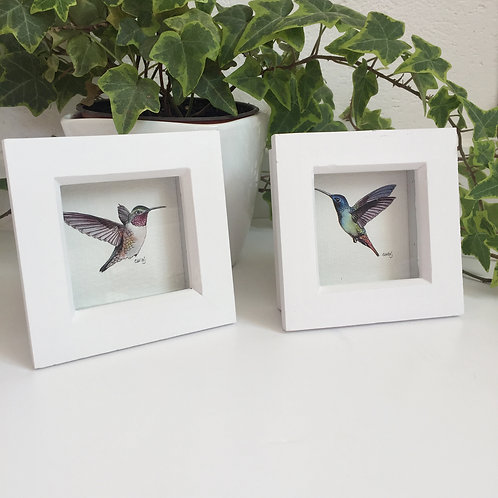 Set of 2 Small Framed Prints Cute Humming Birds, Mini Hummingbird Art Print Set